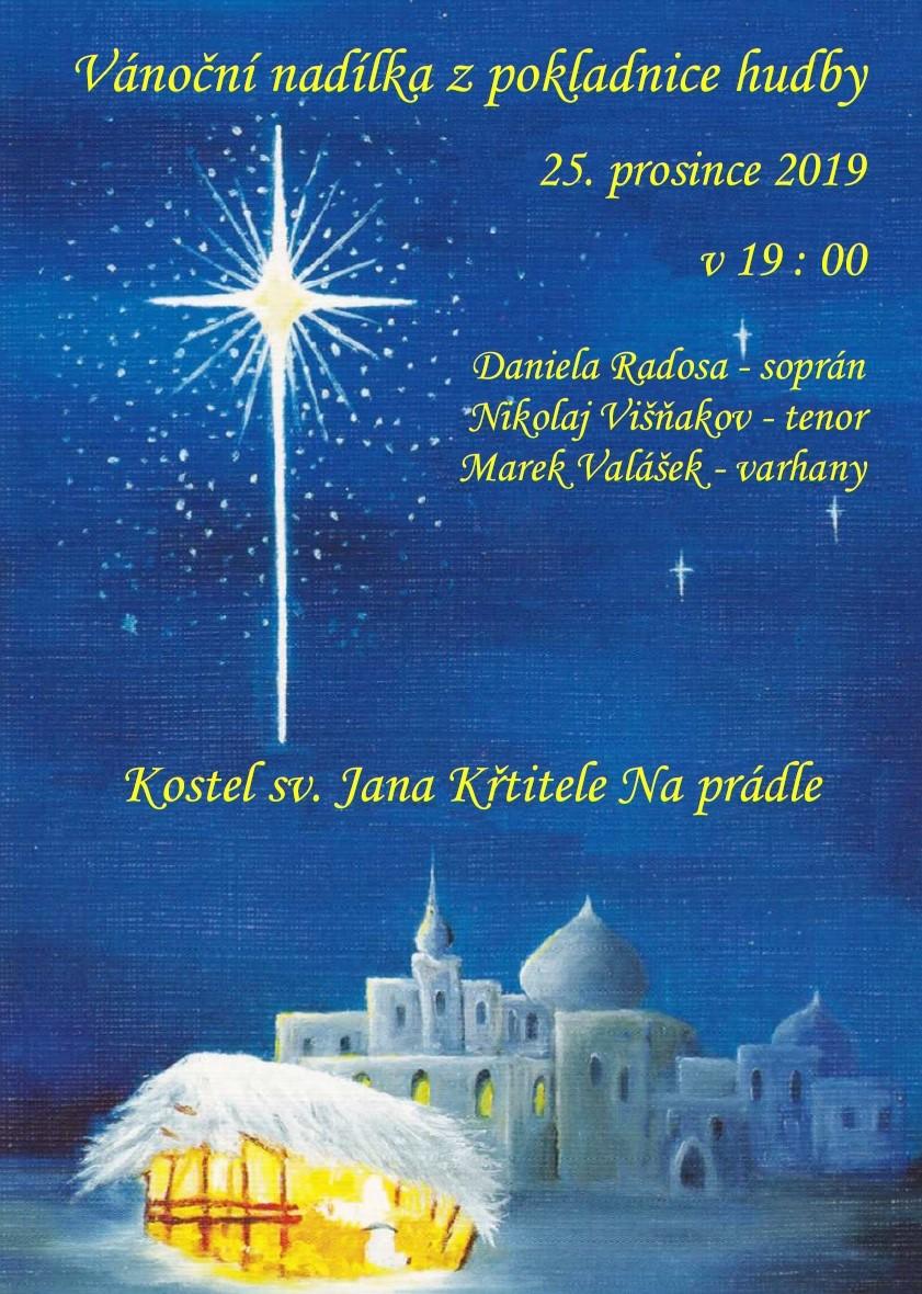 Vánoční koncert, Daniela Radosa - soprán, Nikolaj Višňakov - tenor, Marek Valášek - varhany. 25.12.2019 19:00