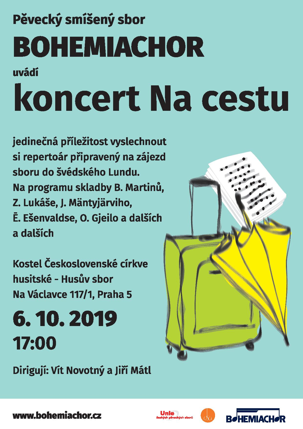 6.10.2019 od 17:00 v kostele Na Václavce 117/1 koncert smíšeného pěveckého sboru Bohemiachor s repertoárem pro zájezd do švédského Lundu