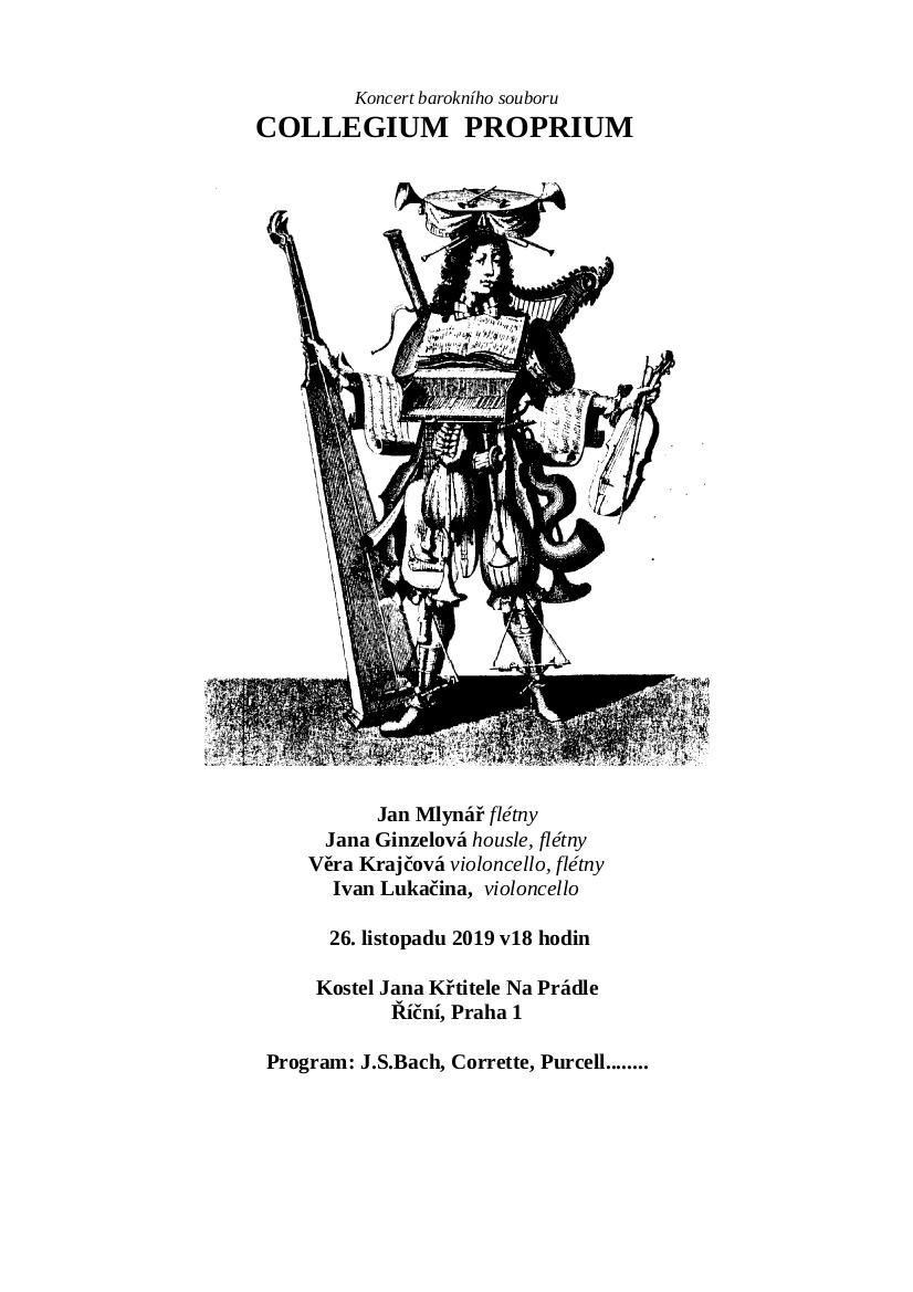 Koncert barokn(ho souboru Collegium Proprium 26.11.2019 v 18:00