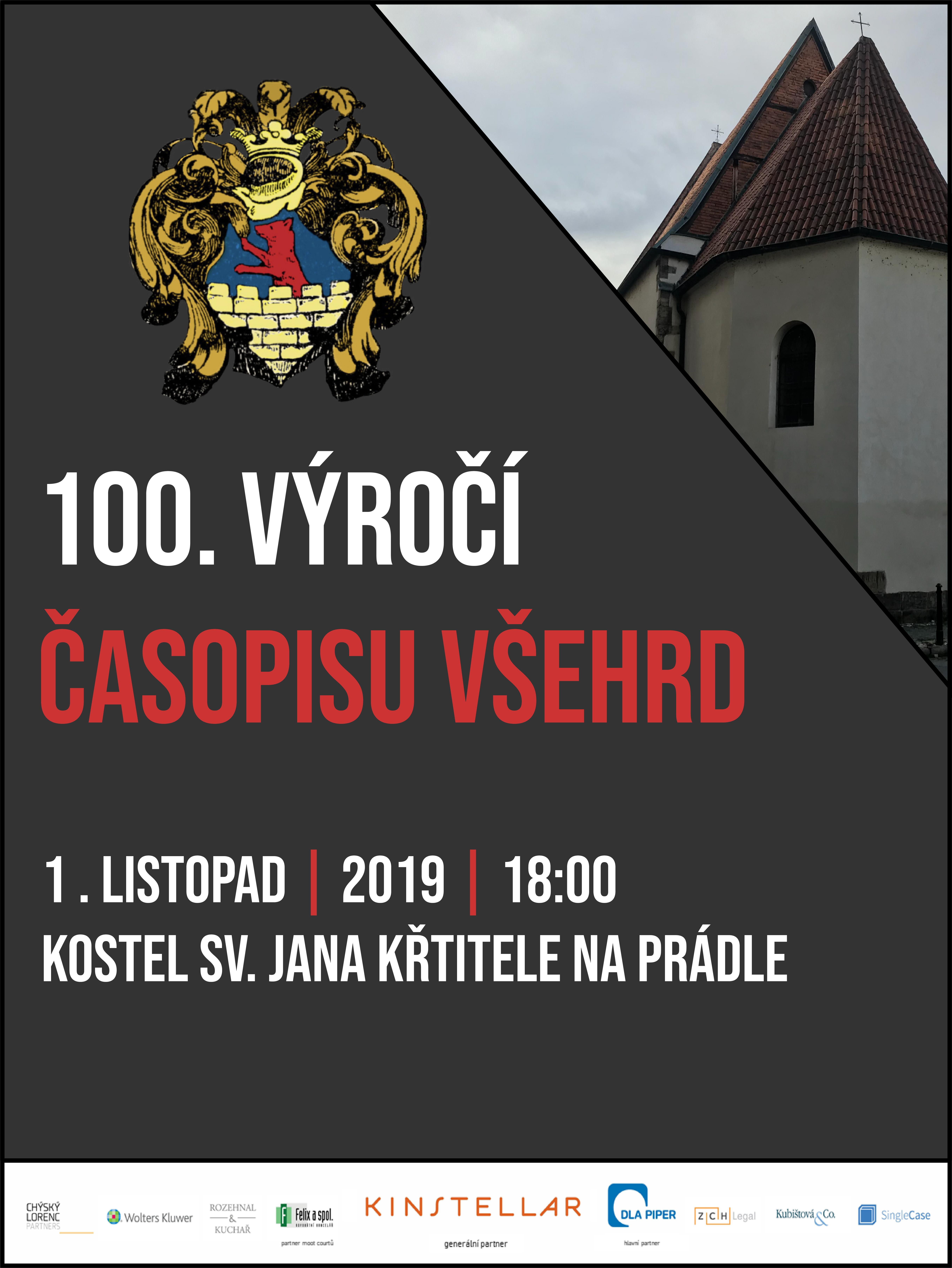 100. výročí časopisu Všehrd 1.11.2019 v 18:00