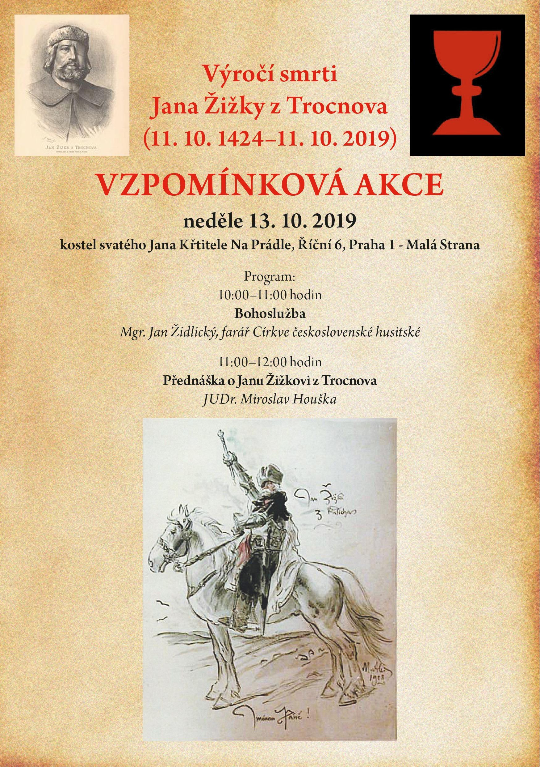 neděle 13.10.2019 po bohoslužbě přednáška mgr. Miroslava Houšky o Janu Žižkovi z Trocnova